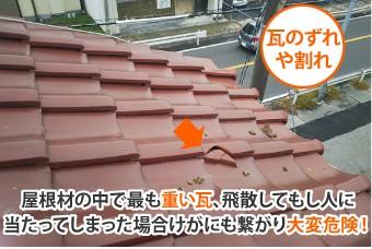 瓦が飛散してもし人に当たってしまった場合けがにも繋がり大変危険