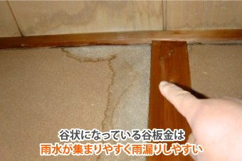 谷板金は雨水が集まりやすく雨漏りしやすい