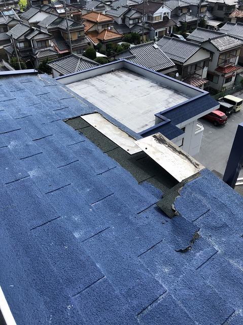 彦根市 屋根の剥がれ