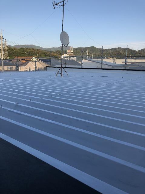 折板屋根下塗り完成