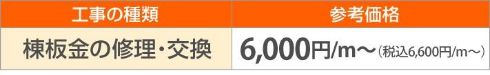 棟板金の修理・交換6,000円/m~(税別)